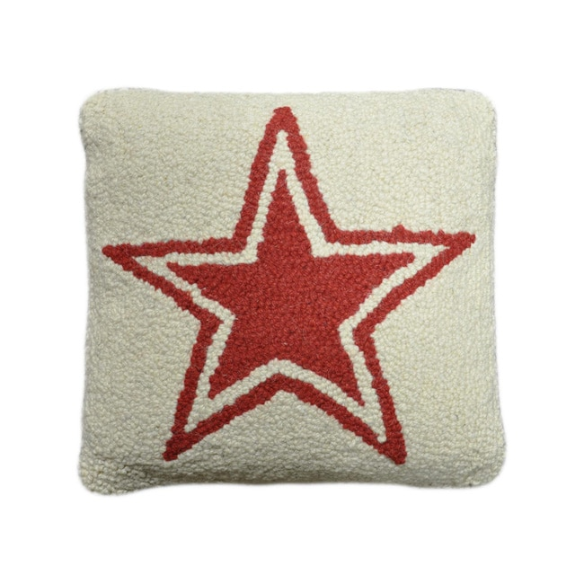 Ivory Star Hooked Wool Pillow