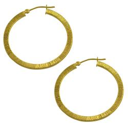Fremada 14k Yellow Gold Brushed Flat Hoop Earrings