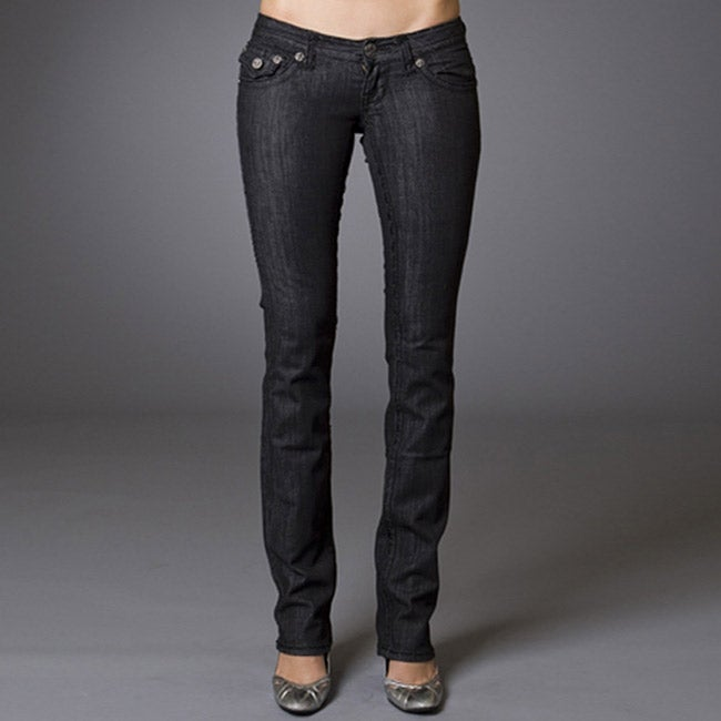 Women's 'Newport Beach' Black Straight Leg Jeans - Thumbnail 0