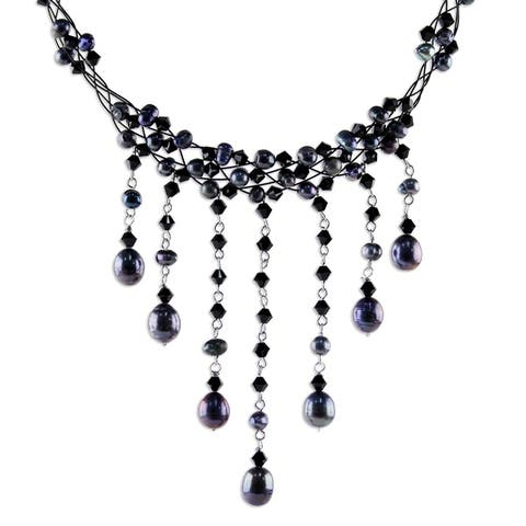 Handmade Steel 'Rain Shower' Black Freshwater Pearl Necklace
