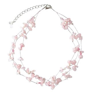 Handmade 'Clouds' White Freshwater Pearl Rose Quartz Necklace (4 mm) (Thailand)