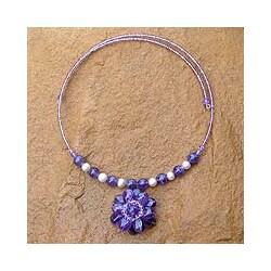 Handmade Steel 'Oriental Bloom' Freshwater Pearl Amethyst Necklace (8 mm) (Thailand)