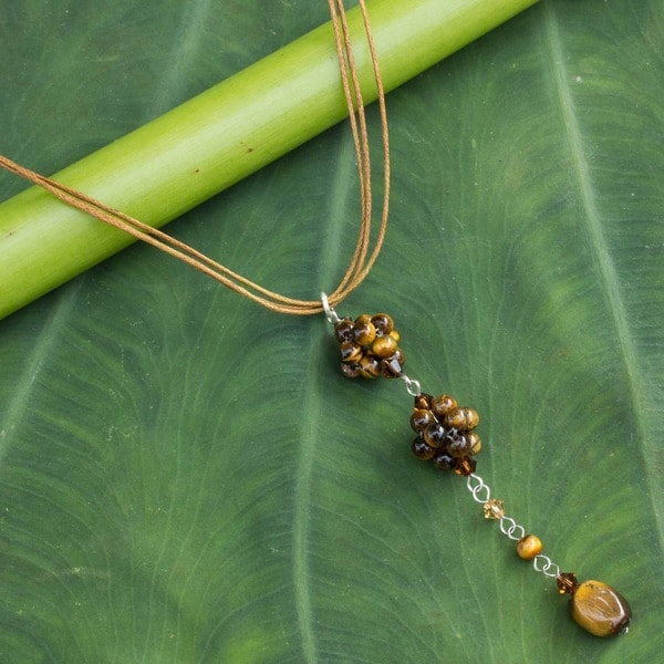 Cotton 'Floral Elegance' Tiger's Eye Necklace (Thailand)