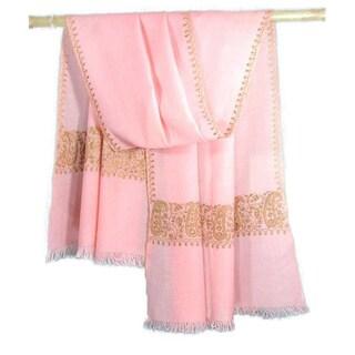 Handmade Wool 'Lavish Pink' Shawl (India)