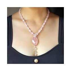 'Spell of Love' Handcrafted Rose Quartz Pendant Necklace (Thailand)