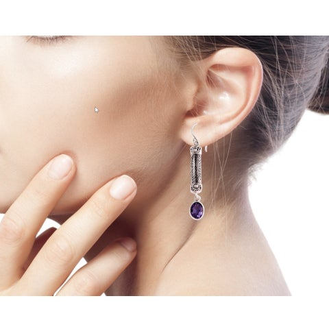 Handmade Sterling Silver 'Bali Birthright' Amethyst Earrings (Indonesia)