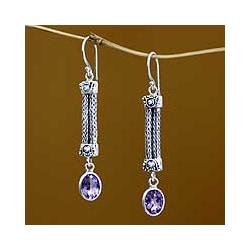 Sterling Silver 'Bali Birthright' Amethyst Earrings (Indonesia)
