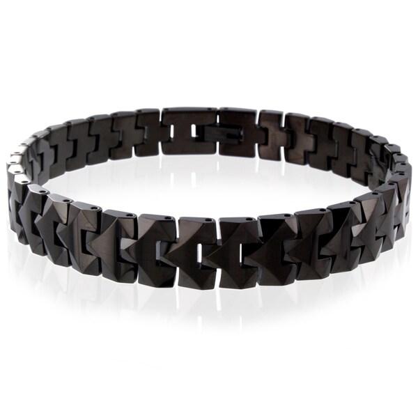 Men's Tungsten Black-plated Carbide Faceted Snake-link Bracelet