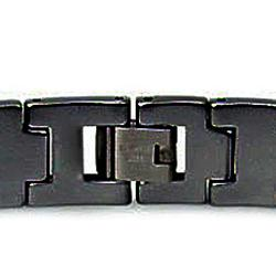 Men's Tungsten Carbide Black-plated Edged Snake-link Bracelet (12 mm) - Thumbnail 1