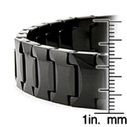 Men's Tungsten Carbide Black-plated Edged Snake-link Bracelet (12 mm) - Thumbnail 2