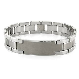Men's Tungsten Carbide ID Watch Link Bracelet (14 mm)