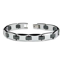 Men's Tungsten Carbide Two-tone Curved-edge Bracelet (10 mm)