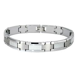 Men's Tungsten Carbide White Carbon Fiber Inlay Bracelet (11 mm)