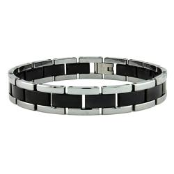 Men's Tungsten Carbide Black and Silver Two-tone Bracelet (10 mm)