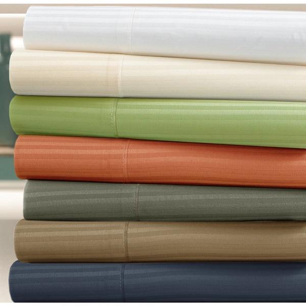 Luxury Pima Cotton  400 Thread Count Stripe 6-piece Deep Pocket Sheet Set