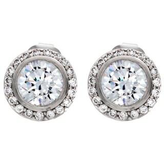 NEXTE Jewelry Silvertone Clear Cubic Zirconia Cassion Stud Earrings