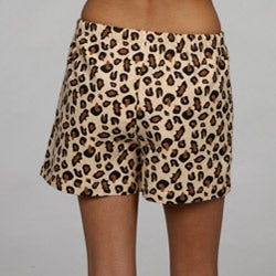 Leisureland Women's Leopard Flannel Boxer Shorts - Thumbnail 1