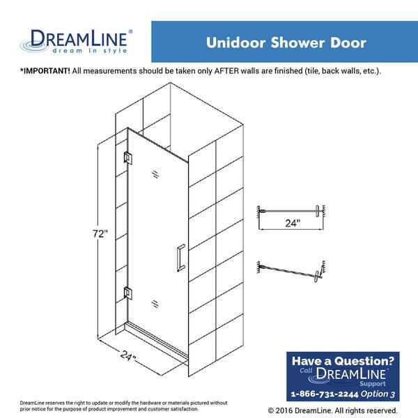 dreamline unidoor 24 in frameless hinged shower door free shipping today