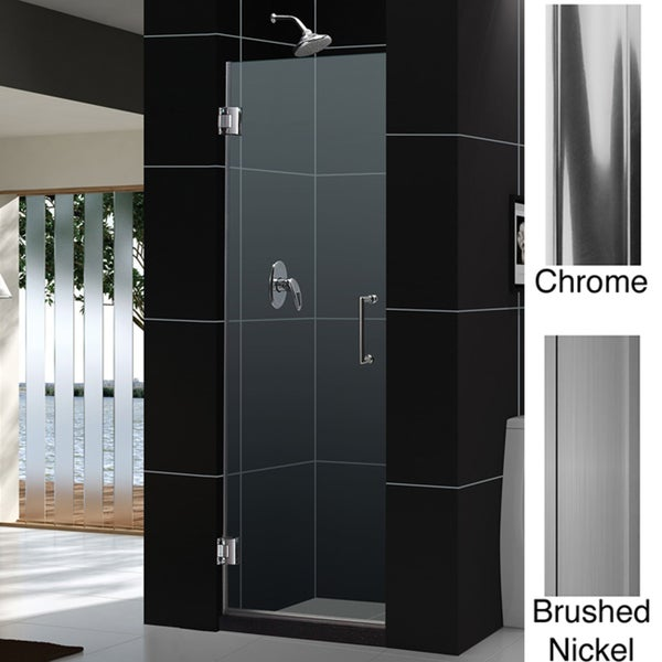 dreamline unidoor 24 in frameless hinged shower door free shipping today. Black Bedroom Furniture Sets. Home Design Ideas