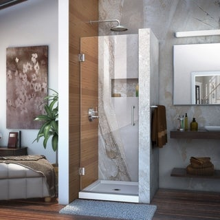 DreamLine Unidoor 24 in. W x 72 in. H Frameless Hinged Shower Door, Clear Glass - 24 in. w x 72 in. h