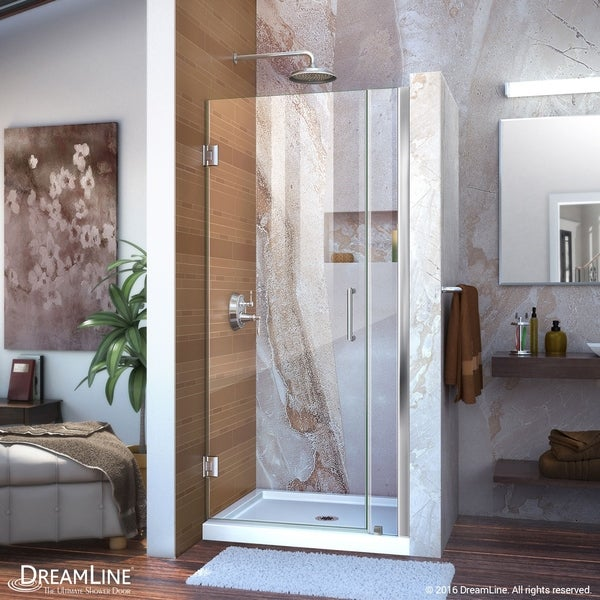 DreamLine Unidoor 30-31 in. W x 72 in. H Frameless Hinged Shower Door, Clear Glass