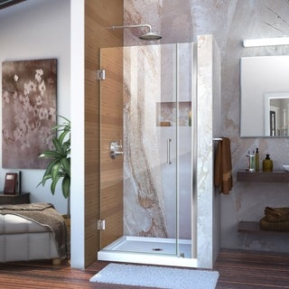 DreamLine Unidoor 33-34 in. W x 72 in. H Frameless Hinged Shower Door, Clear Glass