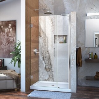 DreamLine Unidoor 39-40 in. W x 72 in. H Frameless Hinged Shower Door with Support Arm, Clear Glass
