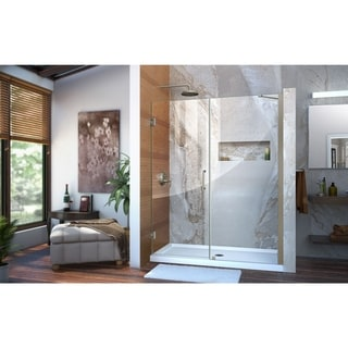 DreamLine Unidoor 57-58 in. W x 72 in. H Hinged Shower Door with Support Arm - 57 - 58 W (Nickel Finish/Brushed - 50-59 Inches - 60 in. w x 72 in.