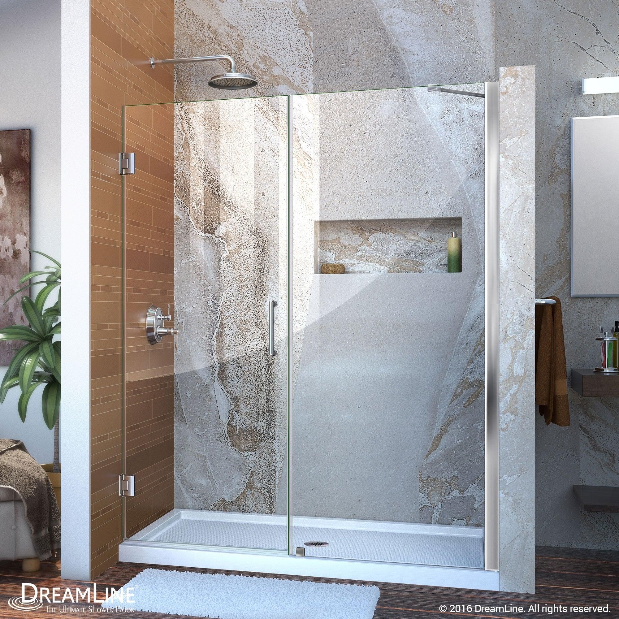 DreamLine Unidoor 57-58 in. W x 72 in. H Hinged Shower Door with Support Arm - 57 - 58 W (Brushed Nickel Finish)