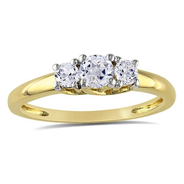 Miadora 10k Yellow Gold Created White Sapphire 3-stone Ring