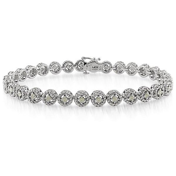 Miadora Sterling Silver 1ct TDW Diamond Halo Bracelet