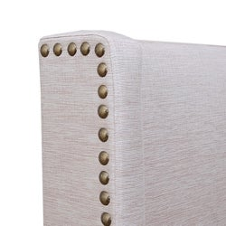 Carrie Natural Fabric Queen-size Headboard - Thumbnail 1