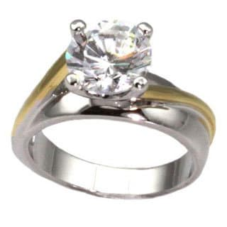 NEXTE Jewelry Two-tone Round-cut Cubic Zirconia Solitaire Ring