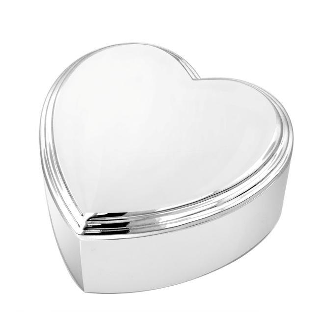 Heart-shape Silver-tone Engravable Three-inch Nickel Jewelry Box