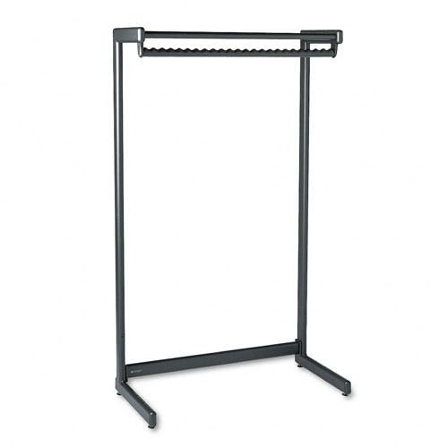 Quartet Single-Sided Black Garment Rack with Shelf