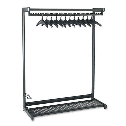 Quartet Black  Garment Rack with Two Shelves