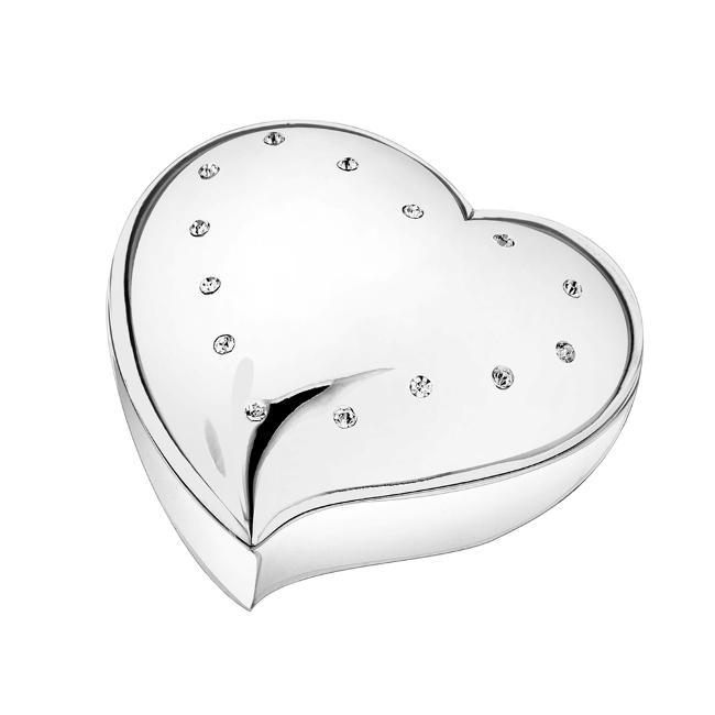 Engravable Silver Heart Jewelry Box