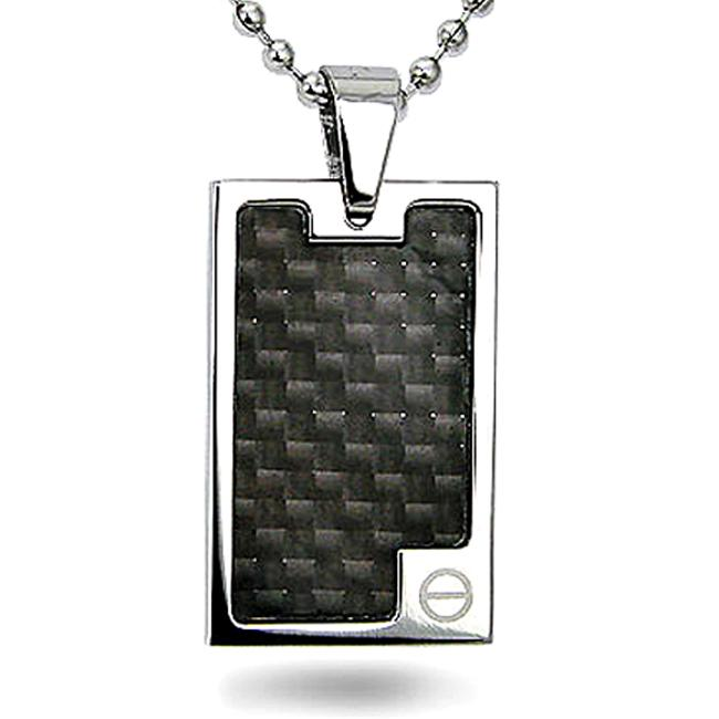 Stainless Steel and Black Carbon Fiber Dog Tag Necklace