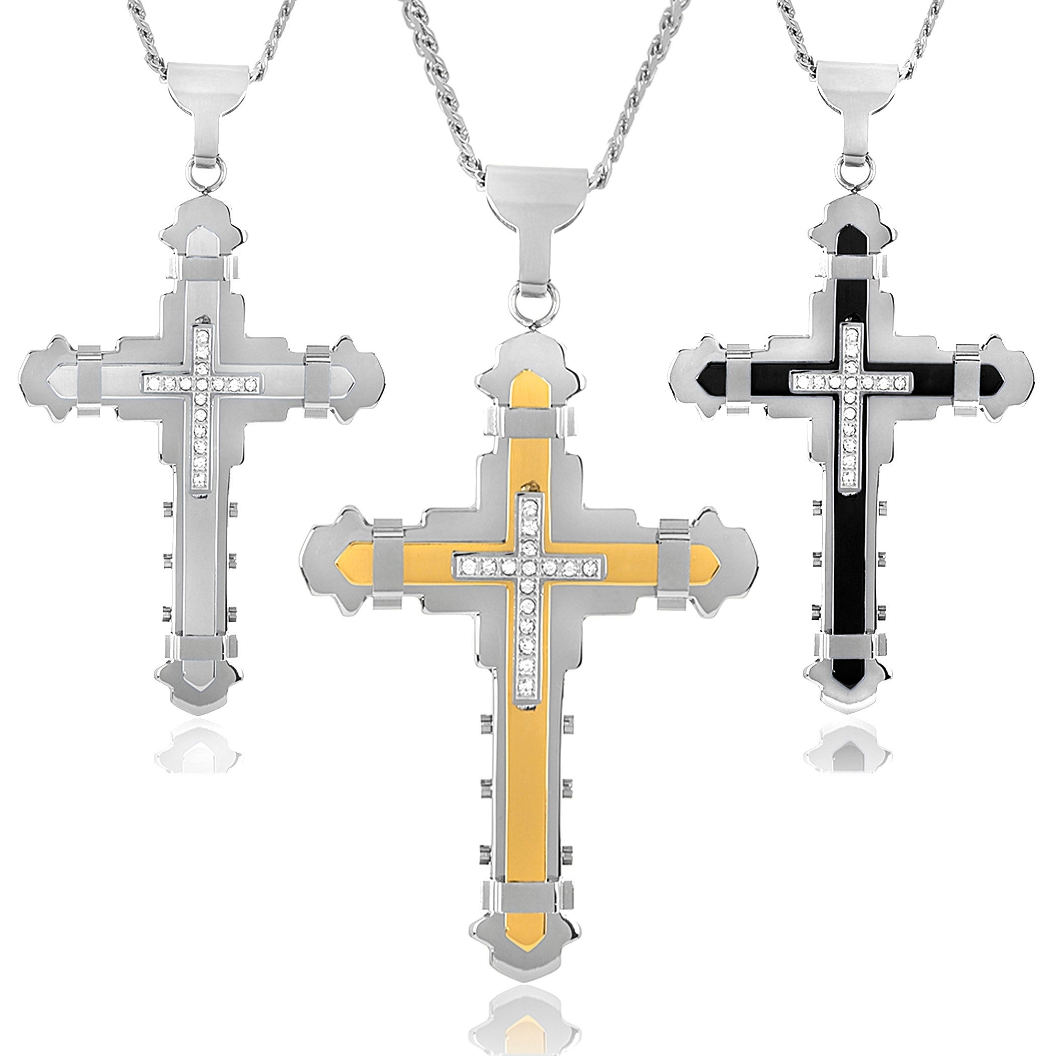 "mens 4/"" cubic zirconia cross pendant  8mm 26/"" curb chain stainless steel"