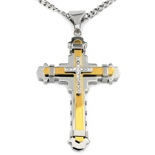 Crucible Cubic Zirconia Stainless Steel Cross Necklace