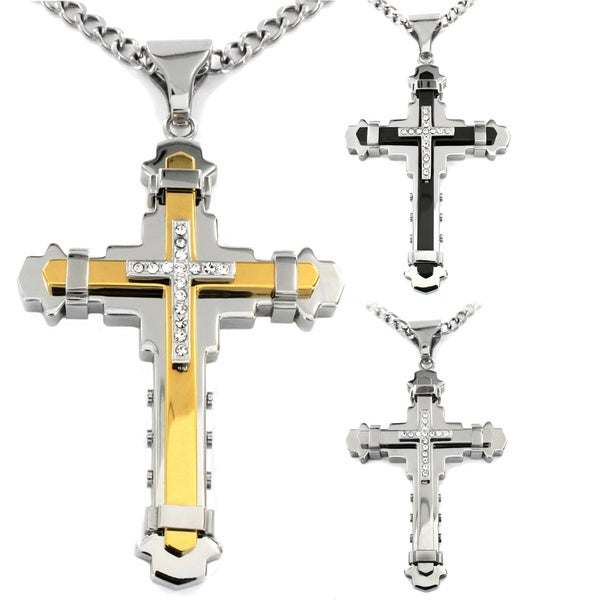 Crucible Men's Cubic Zirconia Stainless Steel Cross Necklace