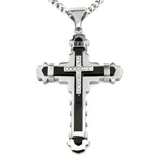 Crucible Men's Cubic Zirconia Stainless Steel Cross Necklace