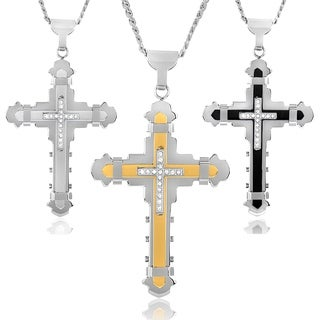 Crucible Men's Cubic Zirconia Stainless Steel Cross Necklace|https://ak1.ostkcdn.com/images/products/5566869/P13337314.jpg?_ostk_perf_=percv&impolicy=medium