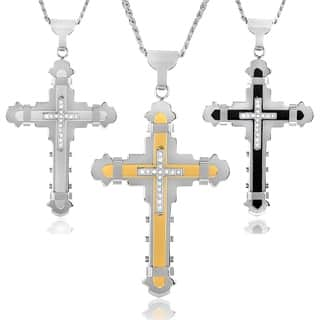 Crucible Men's Cubic Zirconia Stainless Steel Cross Necklace|https://ak1.ostkcdn.com/images/products/5566869/P13337314.jpg?impolicy=medium