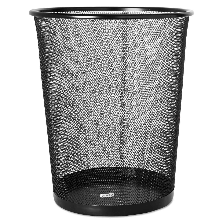 Rolodex Mesh Wastebasket, Black (Metal)