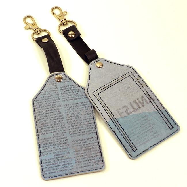 Set of Two Recycled Plastic Blue Newsprint Travel Tags (India)