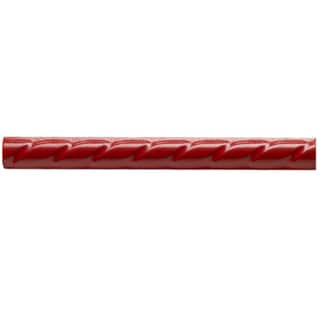 SomerTile 1x9.75-in Red Rope Pencil Ceramic Trim Tile (Pack of 12)