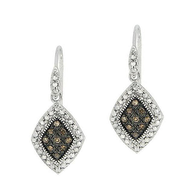 DB Designs Sterling Silver 1/5ct TDW Brown Diamond Dangle Earrings
