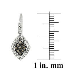 DB Designs Sterling Silver 1/5ct TDW Brown Diamond Dangle Earrings - Thumbnail 1