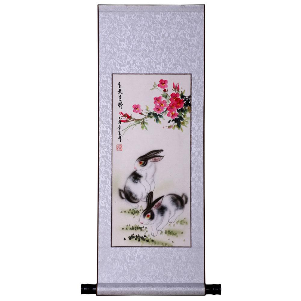 Rabbits And Spring Flowers Wall Art Scroll Painting China